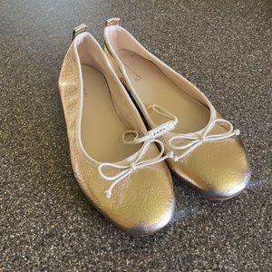 Zara Girl's Gold Ballet Flats Size 35